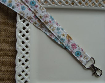 Fabric Lanyard ID - All Over Flowers