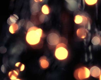 Gold lights, black, bokeh, abstract, yellow, circle, dots, Square Photograph