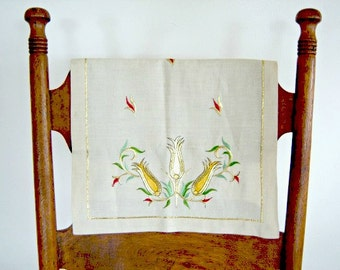 Vintage Shiny Gold Embroidered Rectangle Linen Bureau Scarf Cream Gold Pineapple Motif