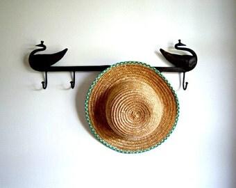 On Sale Vintage Girl's Straw Hat Green Wall Art  Online Vintage, vintage clothing, home accents, vintage dress