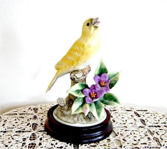 Rare Yellow Porcelain Canary by Andrea Wedding Gift Bird Lover Bird Watchers Yellow Bird