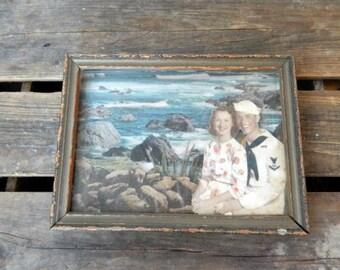 Vintage Picture Diorama Home Decor Sailor Romance Shabby Chic Beach