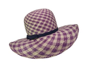 1960s Halston Hat, Woven Sun Hat, Violet and Natural Straw, Rare, Vintage