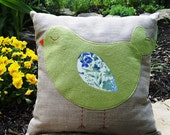 """Green Sleeping Birdie Organic Natural Linen Pillow Cover/  16""""x16""""/ Made To Order"""