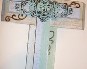 Double vintage Cross, handmade, gift under 40,jesus, home decor