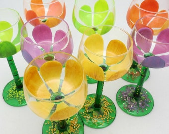 Set of 8 hand painted dessert or wine glasses - Vintage Crystal - Made in France - Spring Tulip Abstract Stemware - Mossy Garden pedestal