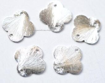One Brushed Sterling Silver Flower Clover Quatrefoil 12mm Connector