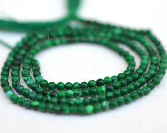 Bright Green Small Malachite Smooth Polish Rounds 2mm- 1/2 STRAND
