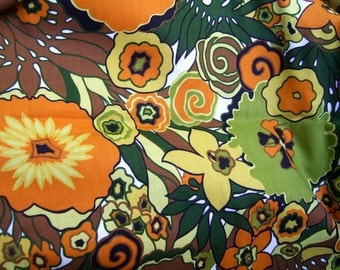 Floral orange, green, yellow print cotton upholstery weight fabric 1 yard
