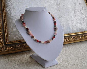 Semi precious stone necklace - Pink, red, clear, brown, green