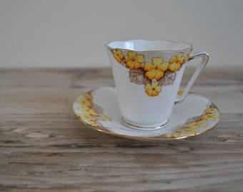 Antique Grafton tea cup and saucer - Aston - Yellow floral pattern - A.B.J