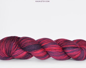 Kauni Wool Yarn, Self-Striping, Fuchsia pink and Purple Gradient, 1ply