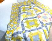 Modern Patchwork Quilt, Yellow Grey Quilt, Twin Bedding, Sofa Blanket