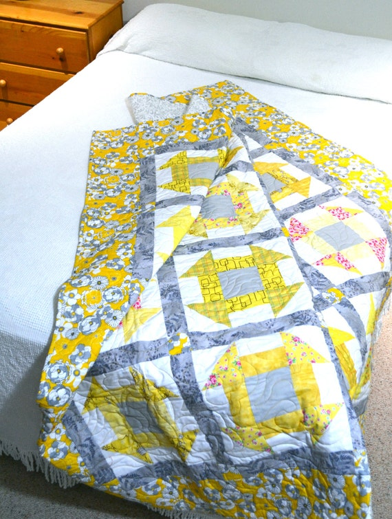 Modern Patchwork Quilt, Yellow Grey Quilt, Twin Bedding, Sofa Blanket
