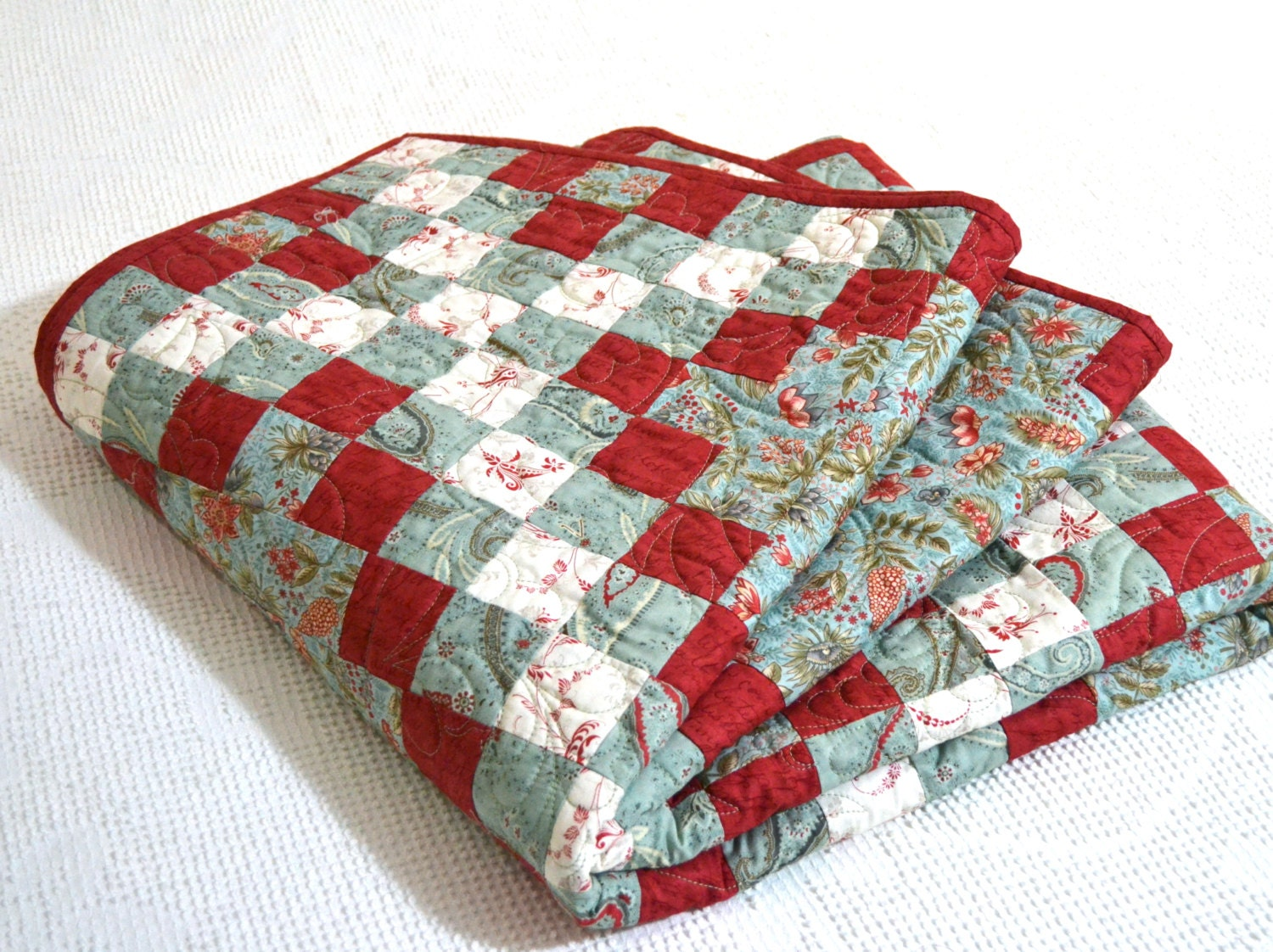 Patchwork Quilt Irish Chain Twin Quilt Bedding Red Aqua