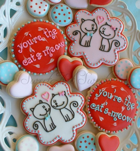 Valentine's Day cookies - you're the cat's meow cookies - cat cookies