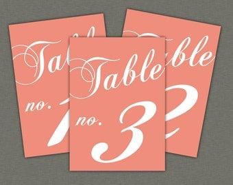 Table Numbers Instant Download - Classic Table Numbers in Coral - modern design DIY. Wedding reception (1-10)