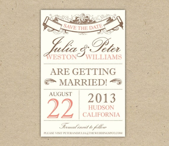 items similar to save the date   custom  printable template  vintage  2053  on etsy