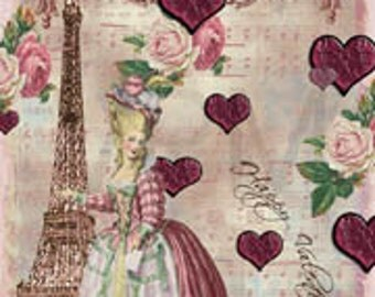 Valentine Gift Tag, Marie Antoinette Paris Vintage Original Design Tags Digital Download You Print ECS