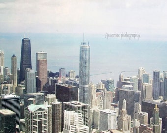 Chicago Photography, Chicago Art, Chicago Skyline, City Skyline Print, Chicago Skyscrapers Photography, Chicago Photo, Gray Chicago Art