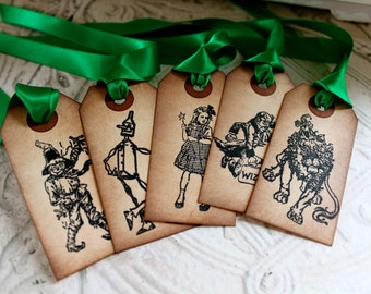 Vintage Inspired Tags - Wizard of Oz - Set of 5 -  You choose ribbon color