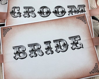 Vintage Inspired Bride and Groom Wedding Chair Signs - Set of 2 - You choose ribbon color