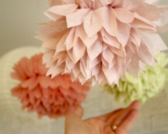 nursery mobile decor ... 5 Mini Poms ... Pick Your Colors // party decor // wedding buffet table // tablescape // crib mobile