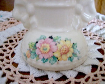 """Vintage Wild Roses and Bows Vase 6"""" tall pottery with Pink Yellow flowers Cottage Chic"""