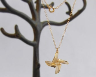 Wishing wind (necklace) - 14k gold plated pinwheel on a dainty 14k Gold Filled chain