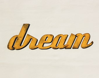 "Dream - metal wall art - 24"" wide - word wall art - choose your color with rust accents patina - steel art"