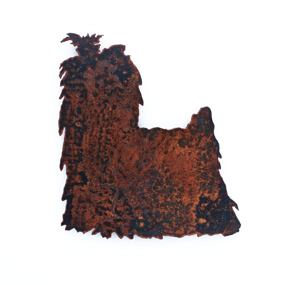 "Yorkie - Yorkshire Terrier wall art - 14"" tall - black and rusted steel - metal dog silhouette profile"