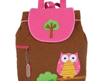 Stephen Joseph Owl girls toddler backpack personalized monogrammed