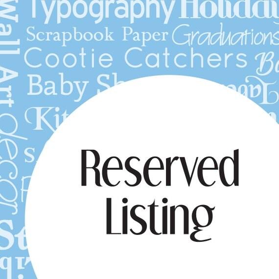 Reserved Listing for vlballard