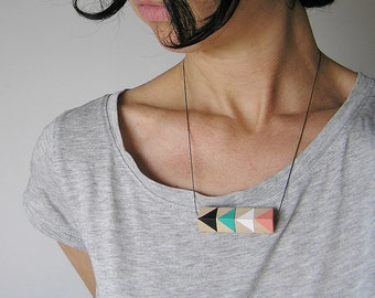 Boho Necklace, Summer jewelry, Handpainted by Olula, Wooden necklace, Geometric Necklace, Beach jewelry, Boho jewelry, Summer necklace