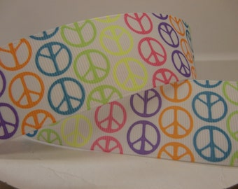 5 yards of 1 1/2 inch NEON PEACE SIGNS ribbon