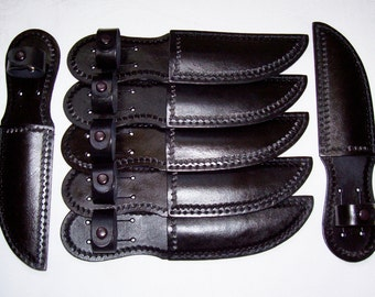 7 Groomsmen/Holiday Gifts-Hand Tooled Black Camouflage Leather Knife Sheaths-item BC-01