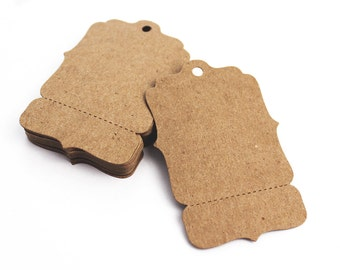 """100 Hang Tags, Medium 2"""" x 3"""" Perforated Blank Price Tags - Bracket - Boutique Swing Tag, Coat Check, Gift Tag"""