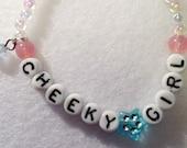 Gifts for Girls, Letter bracelet, Cheeky Girl, Beaded Bracelets for Children,Alphabet letters, jewelry bracelet, heart, girls birthday gift