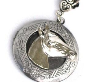 Steampunk - Horse Head Pendant - Necklace - Antique Silver - Neo Victorian - By GlazedBlackCherry