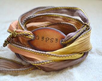 GYPSY... Boho Silk Wrap Bracelet- gypsy bracelet- silk wrap bracelet- wrap bracelet- boho jewelry - gypsy soul jewelry
