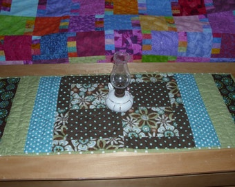 Small Quilt / Table Runner / Brown, Green and Turquoise /  Reversible / Doll Quilt / Hand-Quilted / Wall Hanging / Housewarming Gift