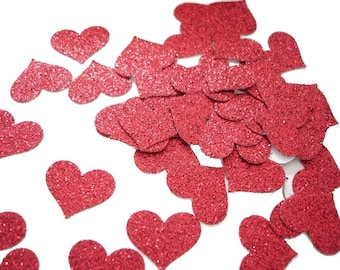 50 Valentine Glittered Red Heart punch, confetti, die cut, cutout, scrapbooking, embellishments - No784