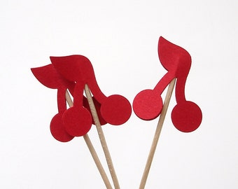 24 Red Cherry Party Picks, Cupcake Toppers, Food Picks, Toothpicks - No546