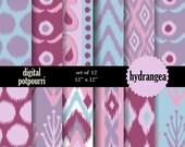 buy2get1 ikat digital paper pack - hydrangea  10 scrapbooking paper