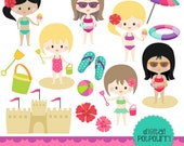 buy2get1 clipart set - girls at the beach
