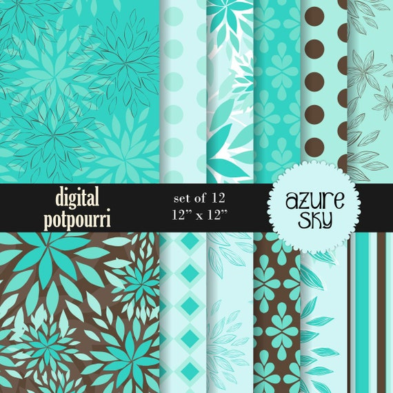 buy2get1 buy2get1floral digital paper pack - azure sky - 12 papers