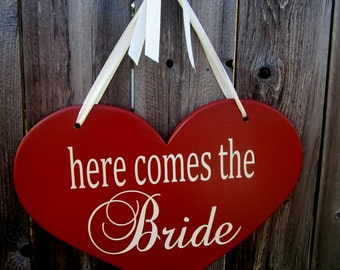 """10"""" x 15"""" Wooden Heart Wedding Sign:  Double Sided  .....and they lived happily ever after & here comes the bride"""