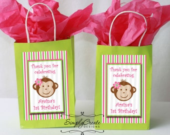 Mod Monkey Favor Tag DIGITAL FILE 4x6 Jpeg Digital File Personalized