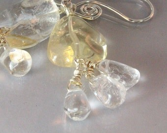 Natural Citrine and Quartz Crystal Earrings, November Birthstone