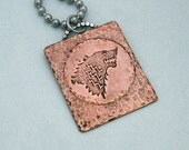 Direwolf Etched Copper Pendant - Game of Thrones Jewelry - House of Stark Necklace - Unisex